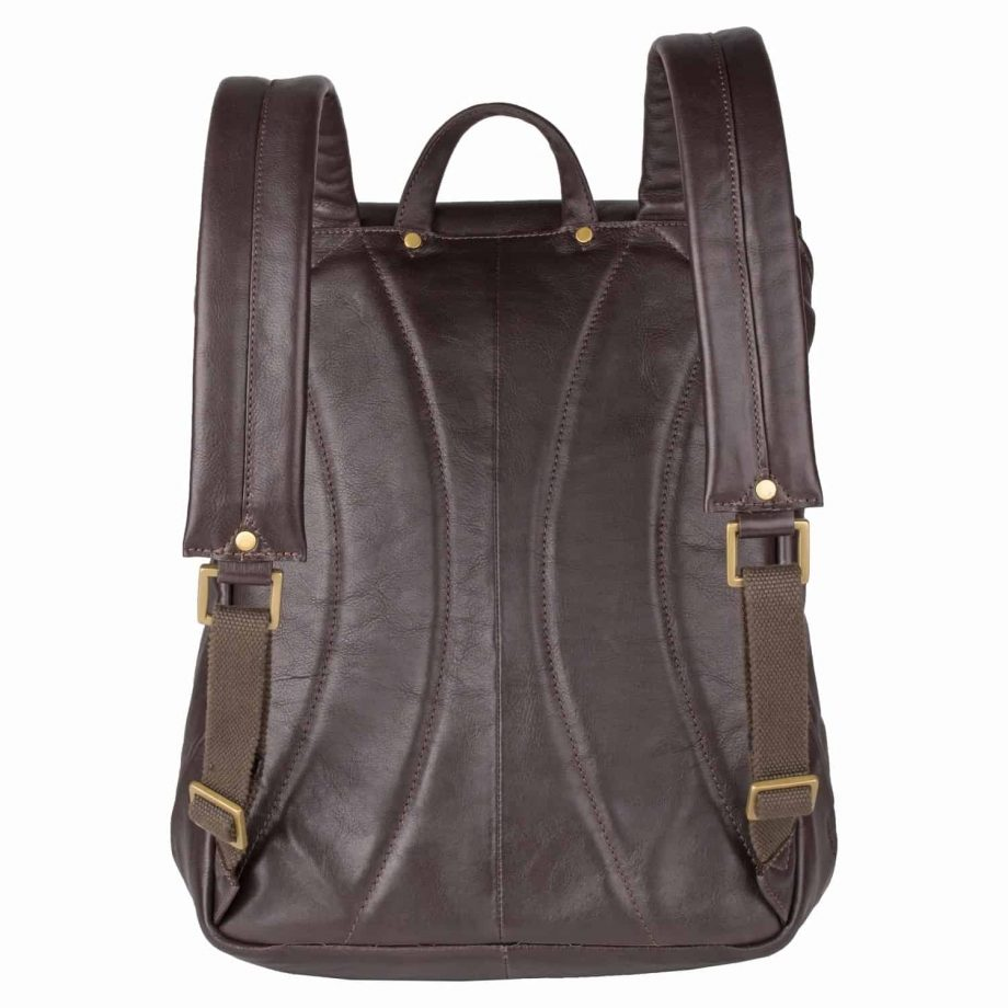Image of the straps of brown Brosnan leather backpack. Classical backpack for men.