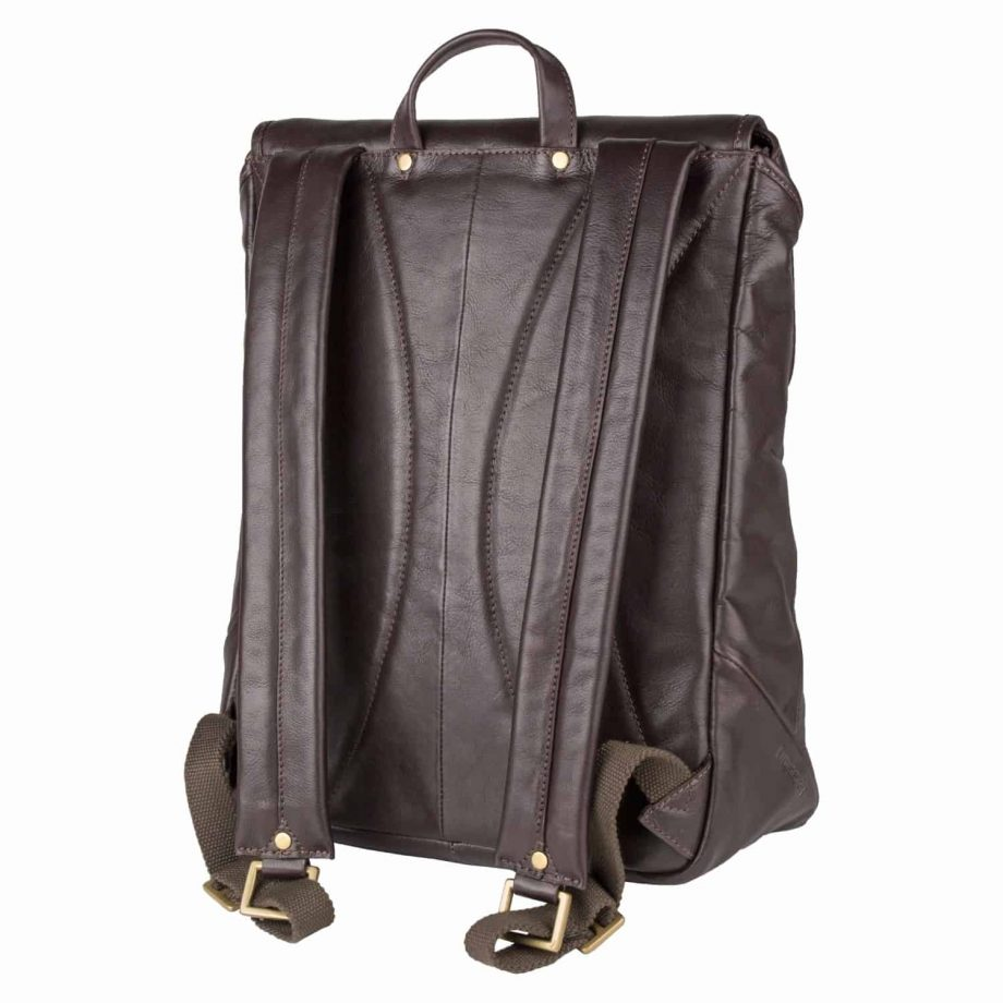 Straps of a Brosnam brown leather backpack, designed for men.