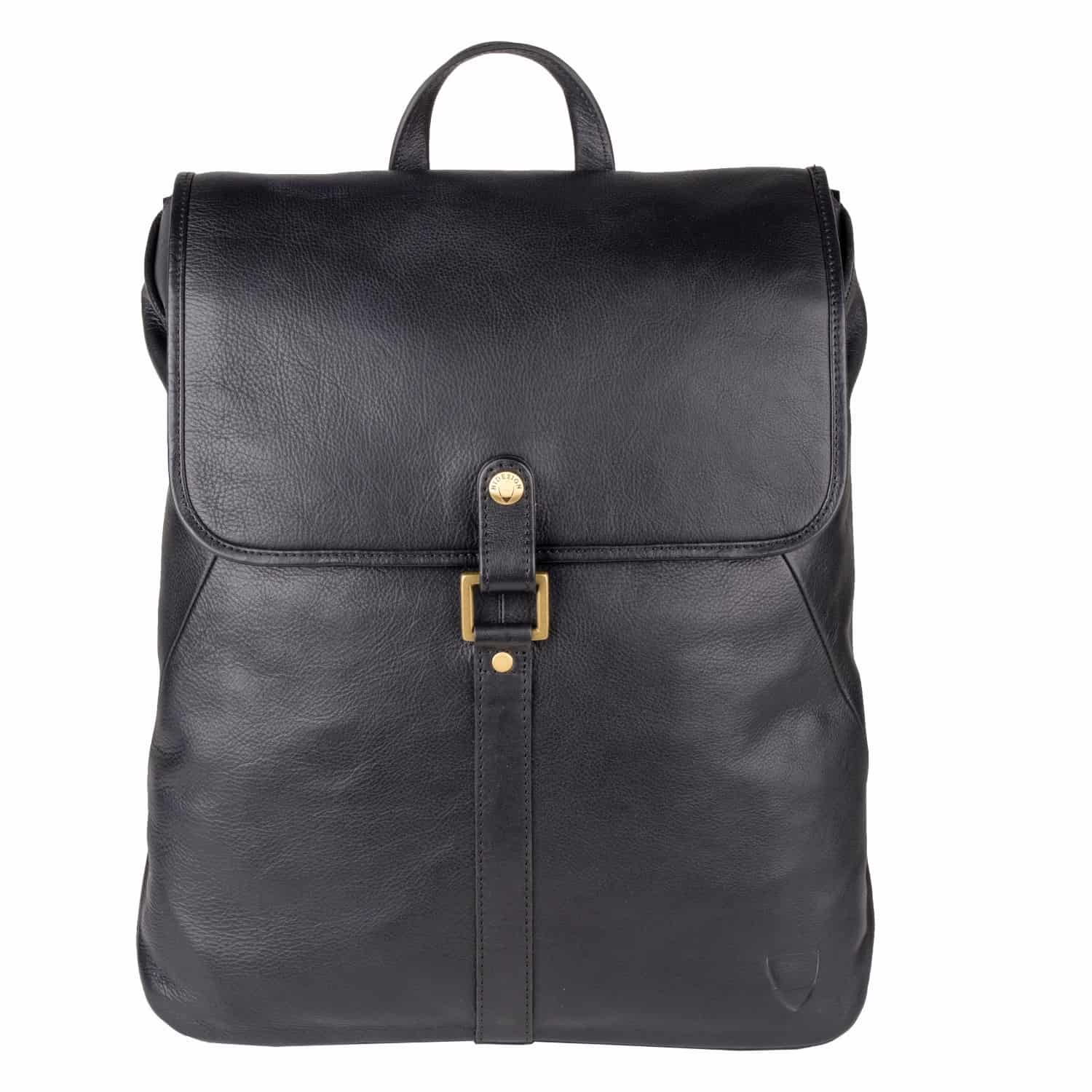 Stylish Brosnan soft classical black leather backpack, for men.