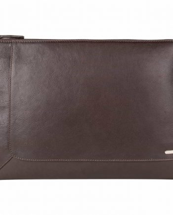 front view of eastwood classic stylish brown leather tablet folio