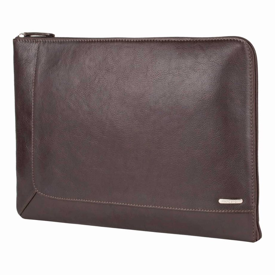 front view of eastwood classic brown leather tablet folio for men