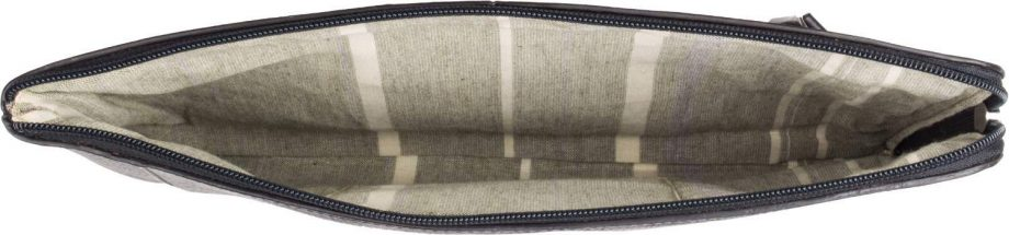 inside view of eastwood black vegetable tanned leather laptop sleeve/ folio