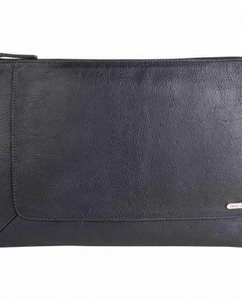 front view of eastwood black vegetable tanned leather laptop sleeve/ folio
