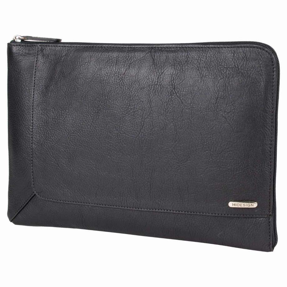 eastwood black vegetable tanned leather laptop sleeve/ folio