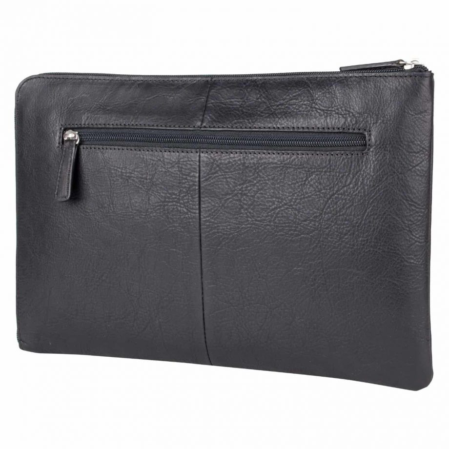 front view of eastwood black vegetable tanned leather laptop sleeve