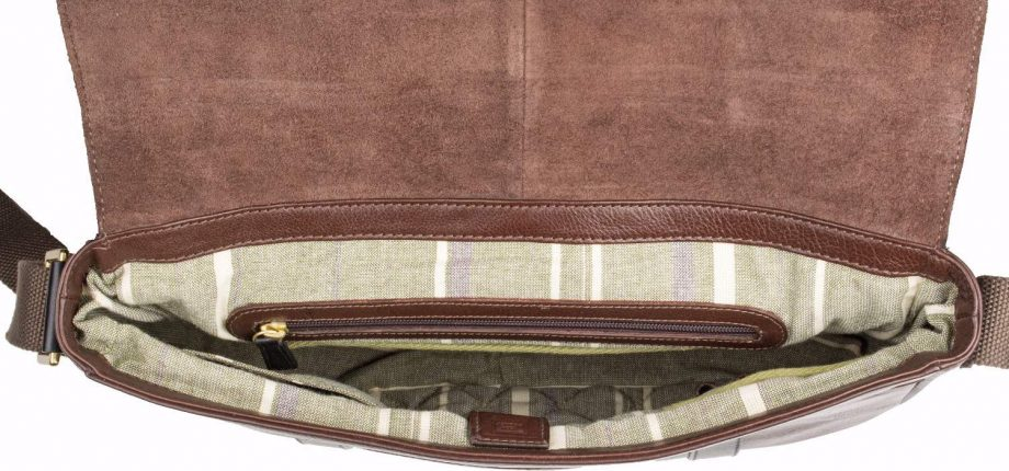 inside view of brown leather gable messenger bag with black trim