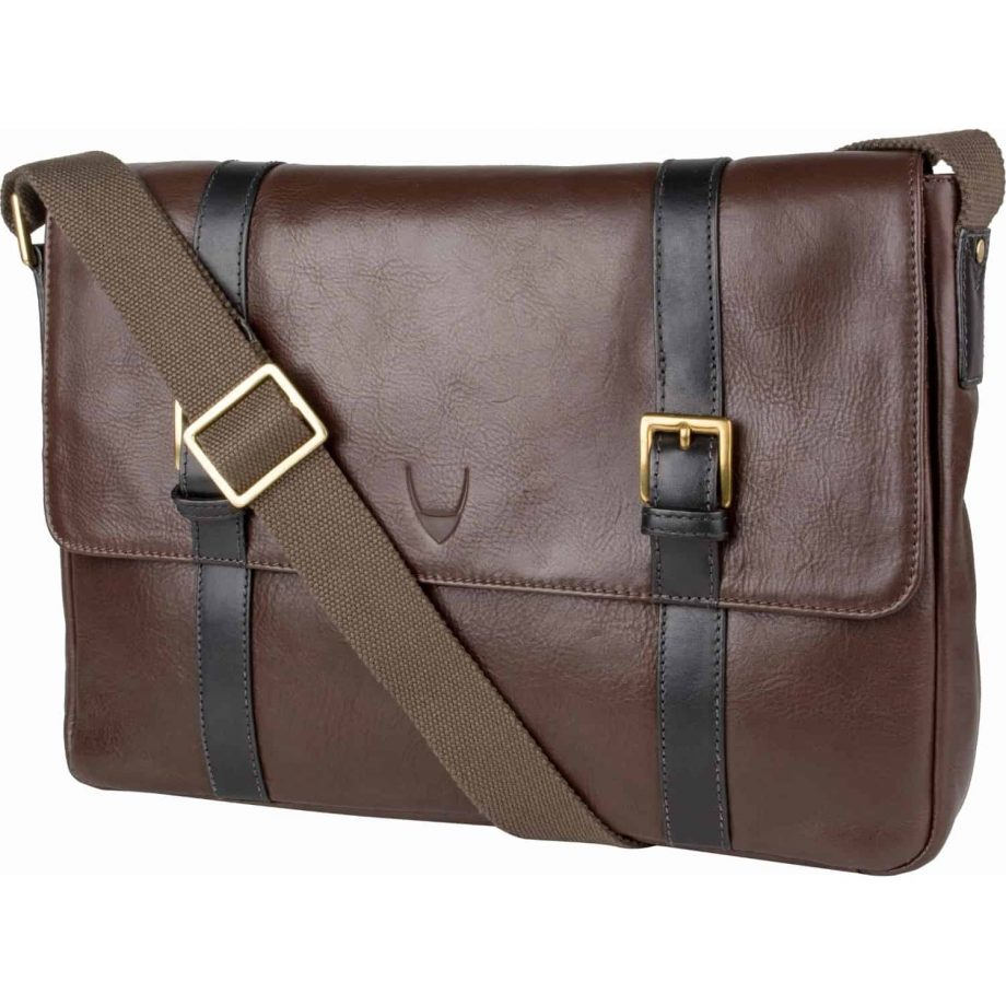 front view of brown leather gable messenger bag with black trim