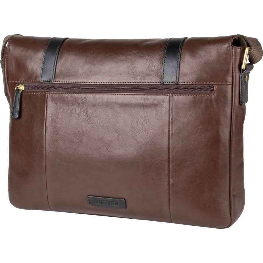 rear view of brown leather gable messenger bag with black trim