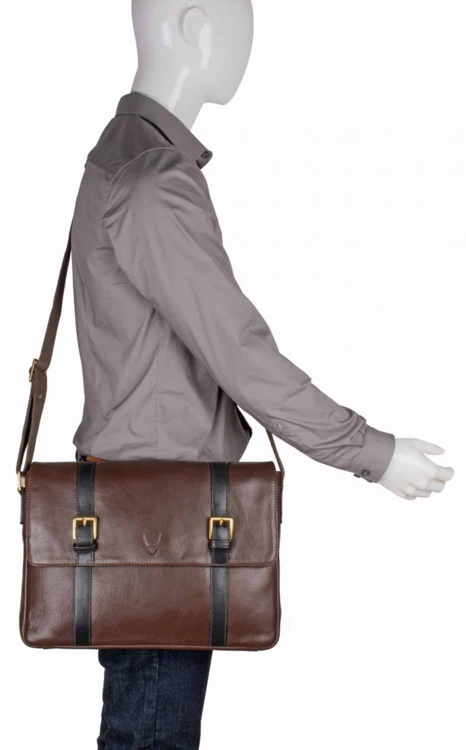 man wearing brown leather gable messenger bag with black trim