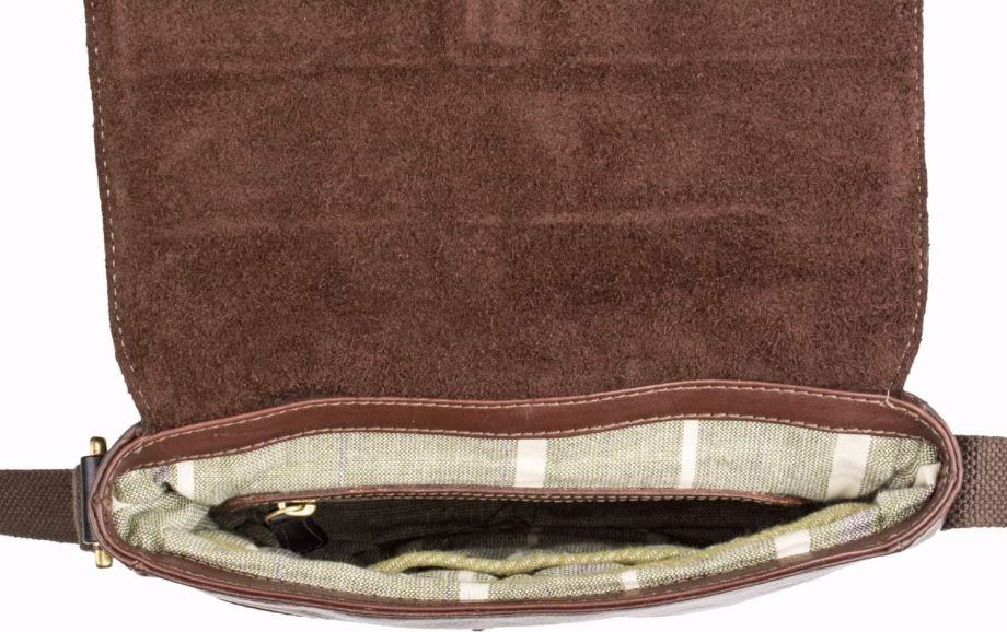 open view of brown leather gable city bag with black trim