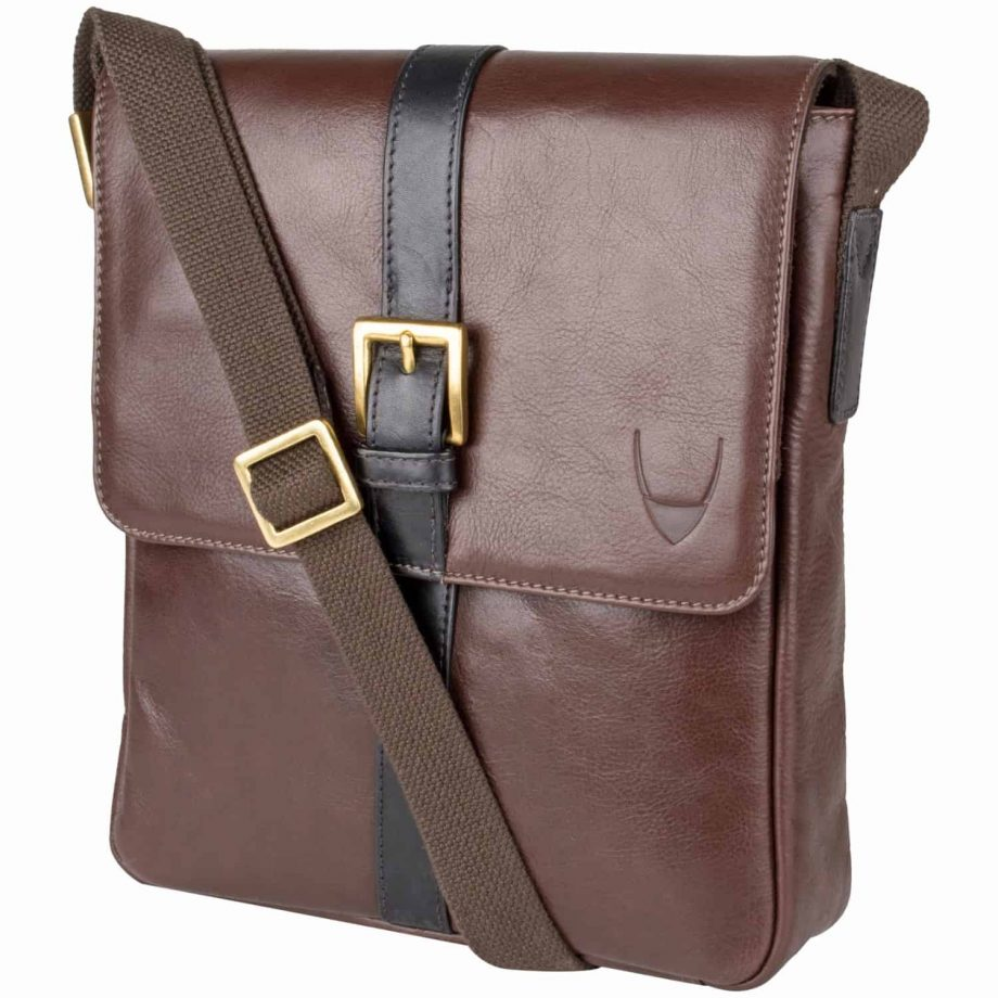 gable brown leather city bag with black trim