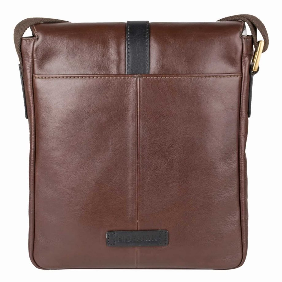 rear view of gable brown leather city bag with black trim