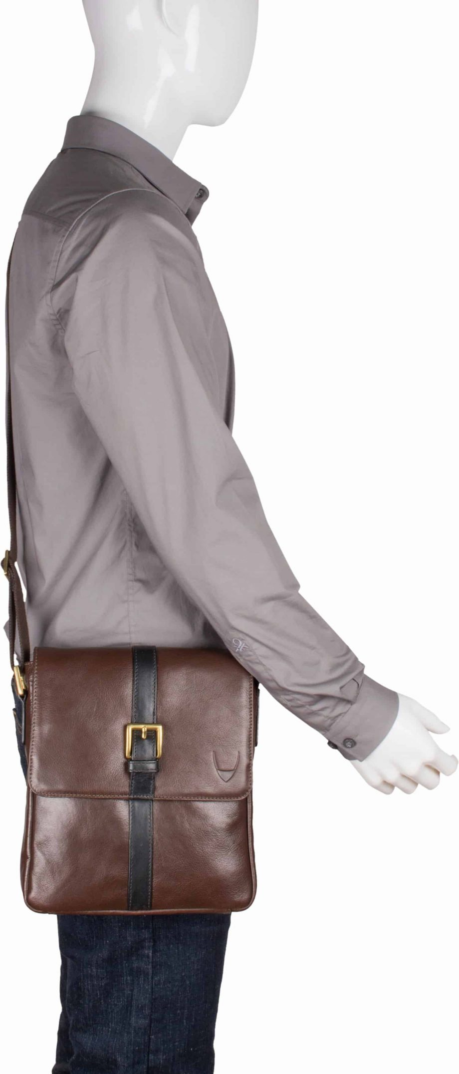 man wearing brown leather gable city bag with black trim