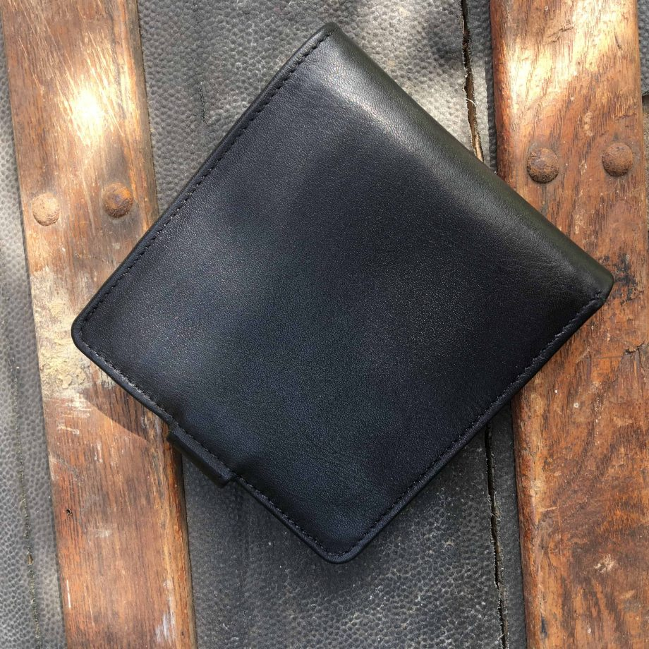 vegetable tanned black leather hip wallet