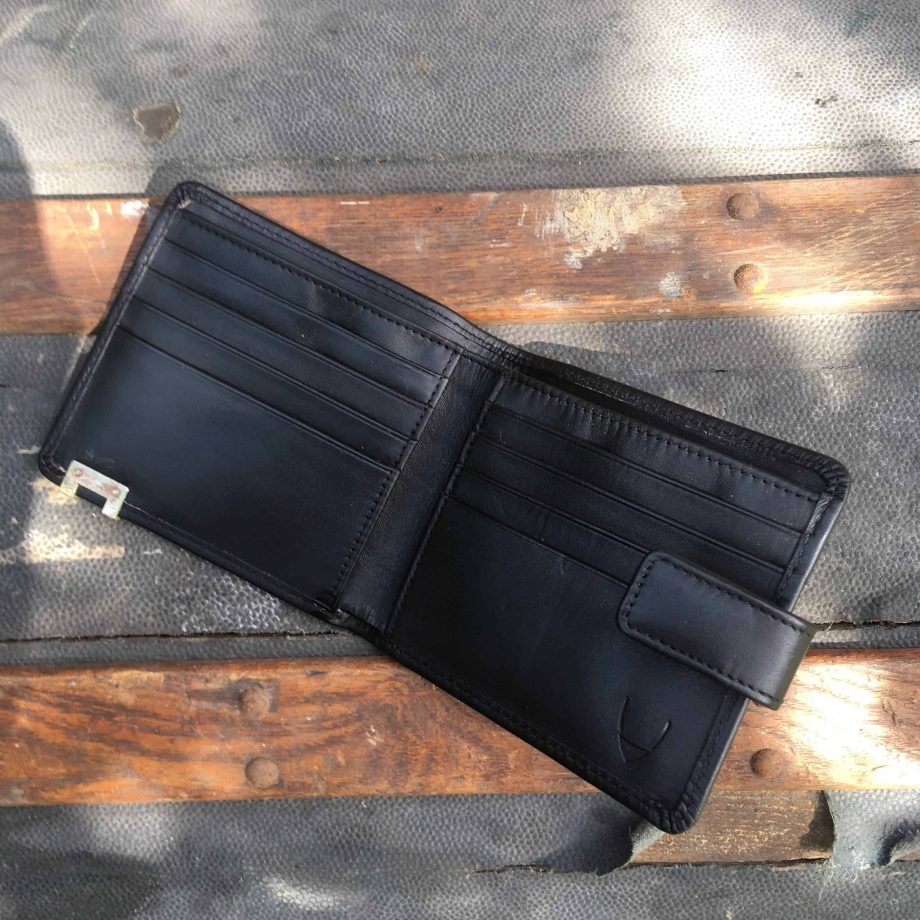inside view of black vegetable tanned leather hip wallet
