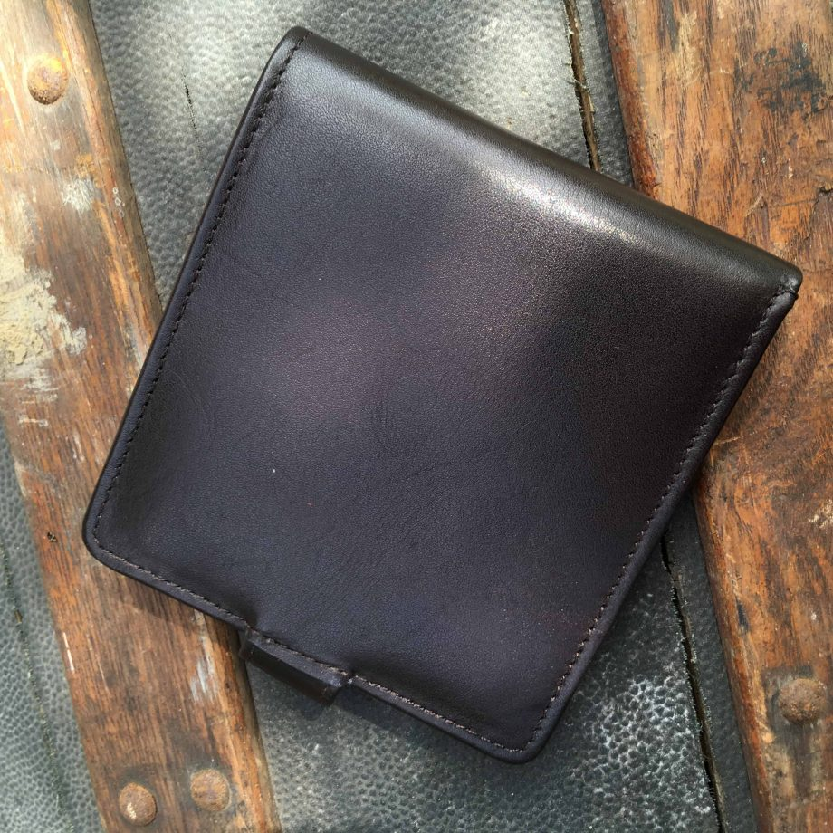 brown vegetable tanned leather hip wallet
