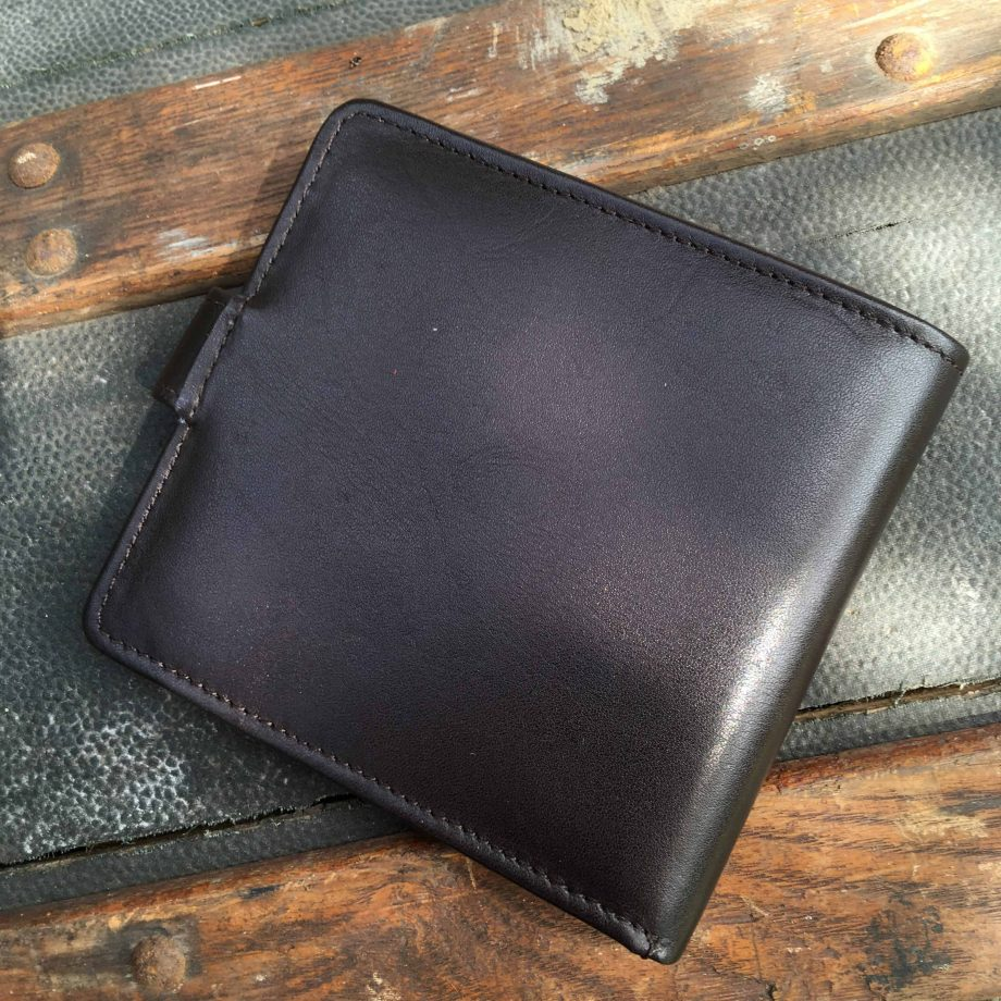 back view of brown vegetable tanned leather hip wallet