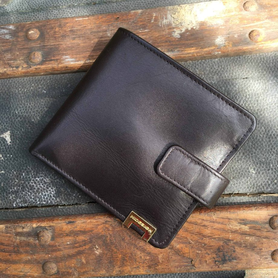 front view of brown vegetable tanned leather hip wallet