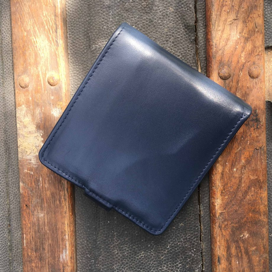 navy vegetable tanned leather hip wallet