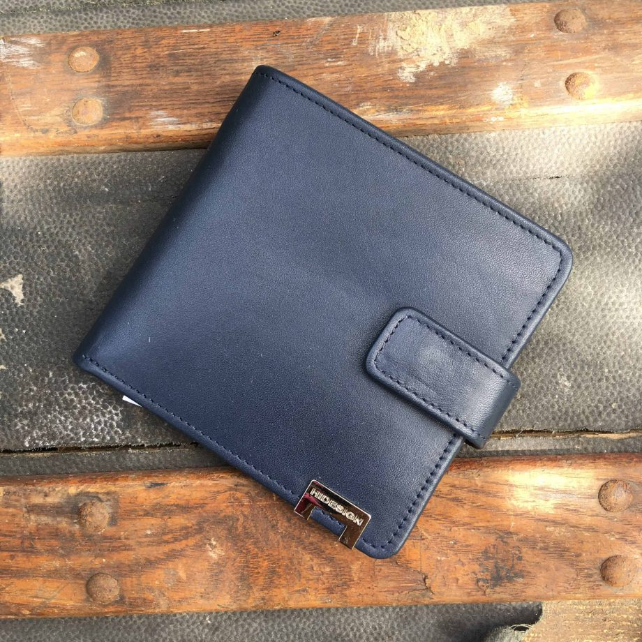 front view of navy vegetable tanned leather hip wallet
