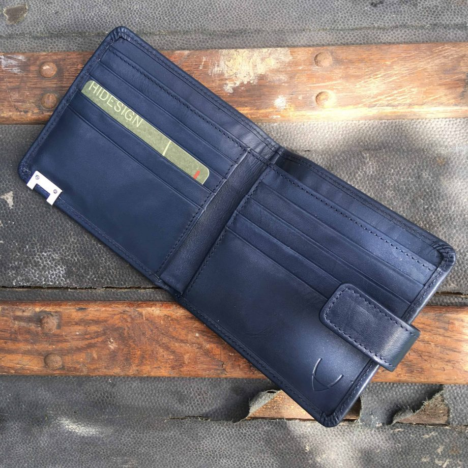 interior view of navy vegetable tanned leather hip wallet