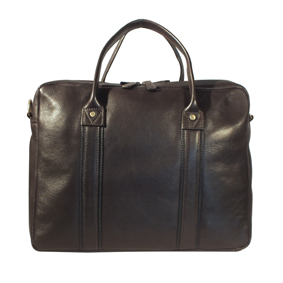 brown leather briefcase with zip-top front view