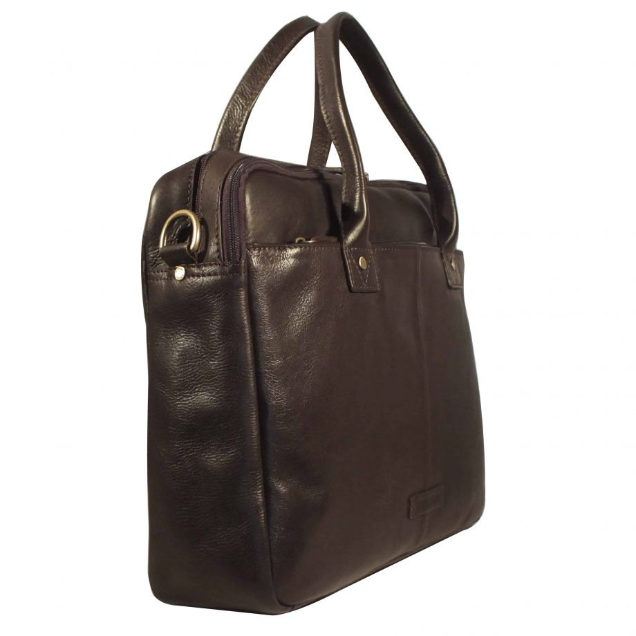 side view of corvette zip top classic brown leather briefcase