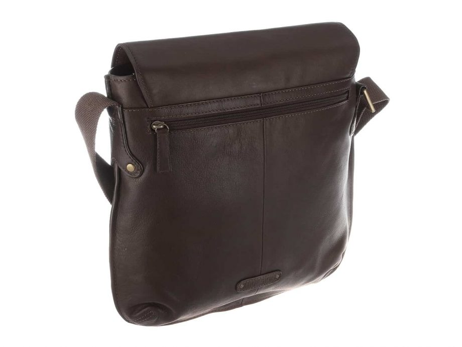 back view of vespucci brown city bag made from vegetable tanned brown leather