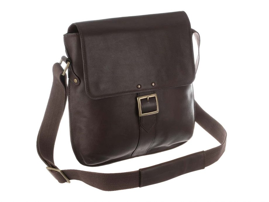 front view of vespucci brown city bag made from vegetable tanned brown leather