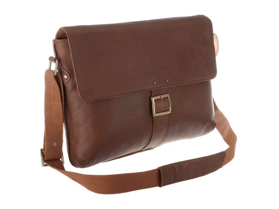 front view of vespucci dispatch bag made from tan coloured cabo leather
