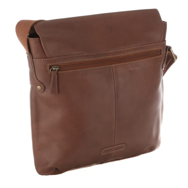 rear view of vespucci tan city bag made from vegetable tanned leather