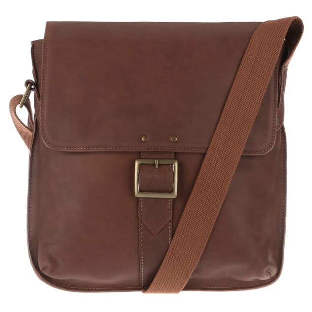 front view of vespucci tan city bag made from vegetable tanned leather