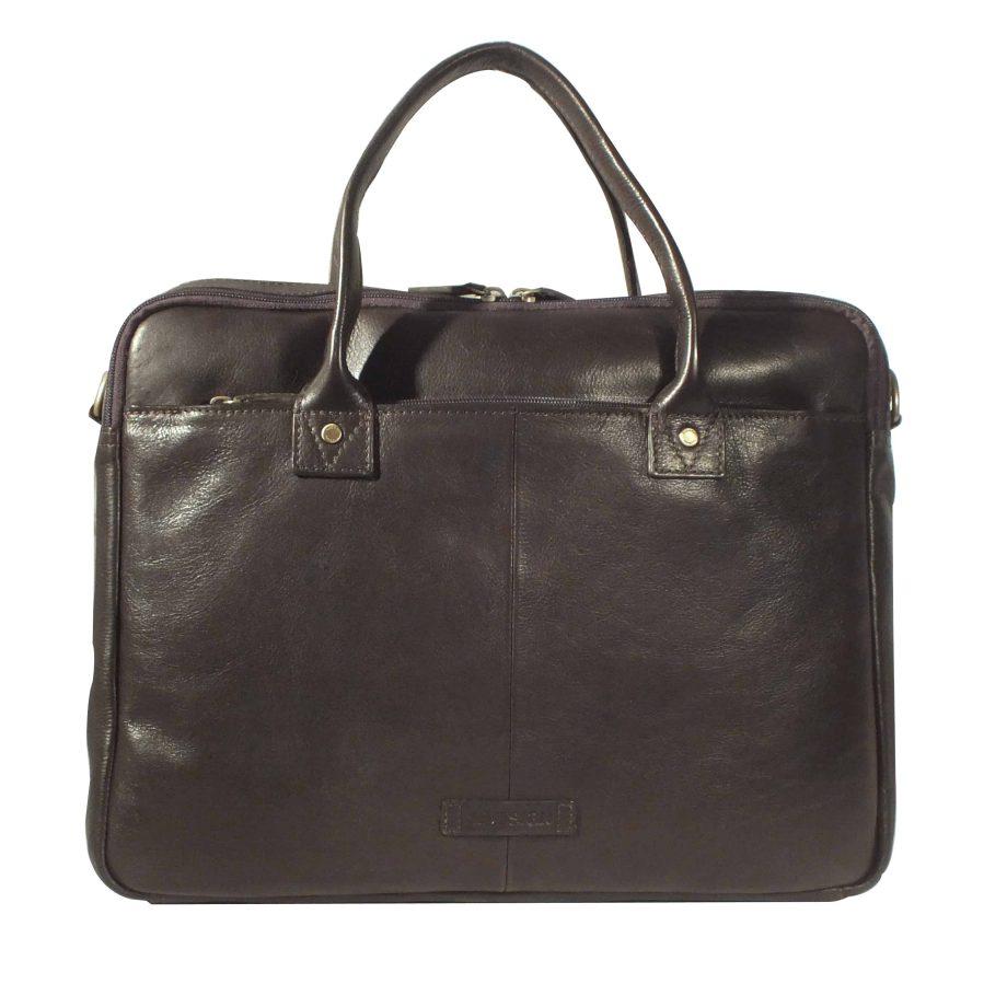 corvette zip top classic brown leather briefcase