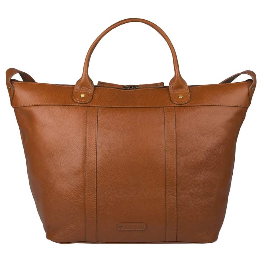 small roberto holdall made from soweto leather in tan